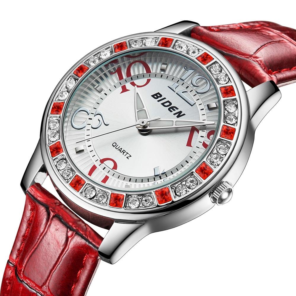 New Red Quartz Women Watches Ladies PU Leather Strap Sports Wrist Watch Luxury Brand Rhinestone Female Watches Girls Dress Watch
