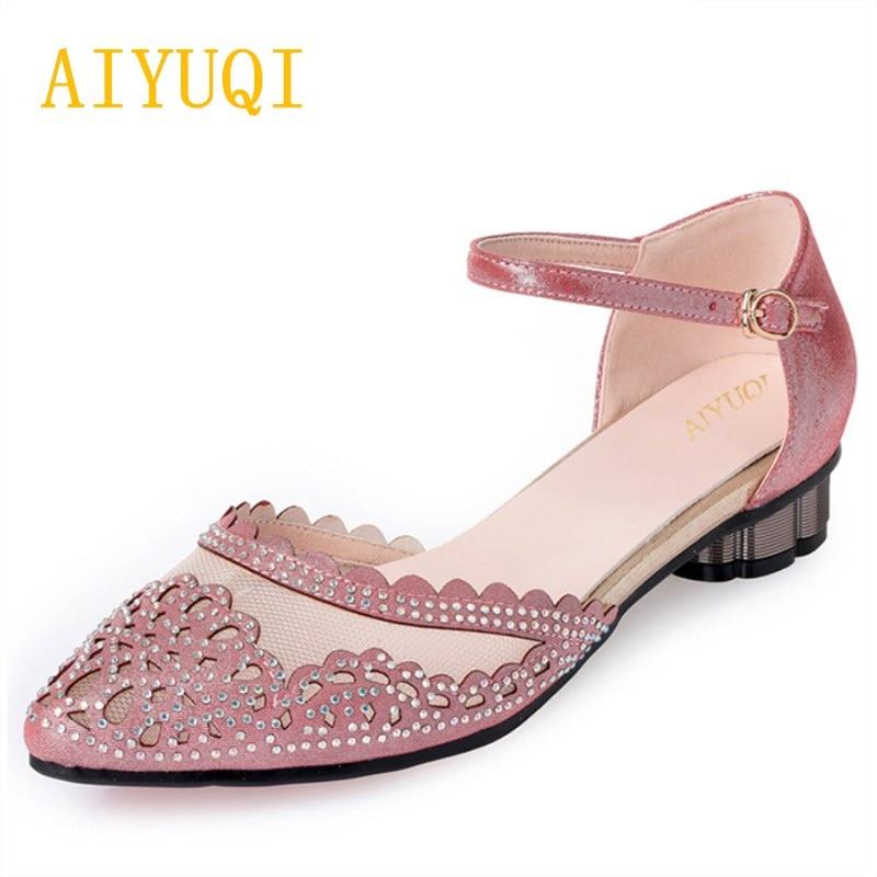 AIYUQI 2019 chaussures pour femmes, pour wedgies trou oeil confortable respirant chaussures à talons bas, sexy dentelle diamant rose chaussures pour femmes