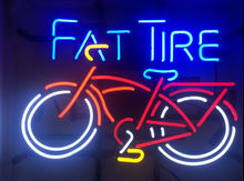 купить Fat Tire Bicycle Bike Glass Neon Light Sign  Beer Bar по цене 6447.99 рублей