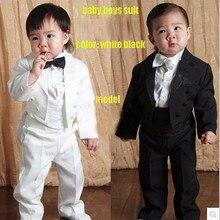 2016 Five Pieces Baby Boy Clothing Set Toddler Children Tuxedo Kids Gentleman Formal Suit Blazers Suits Black 1-4 Year