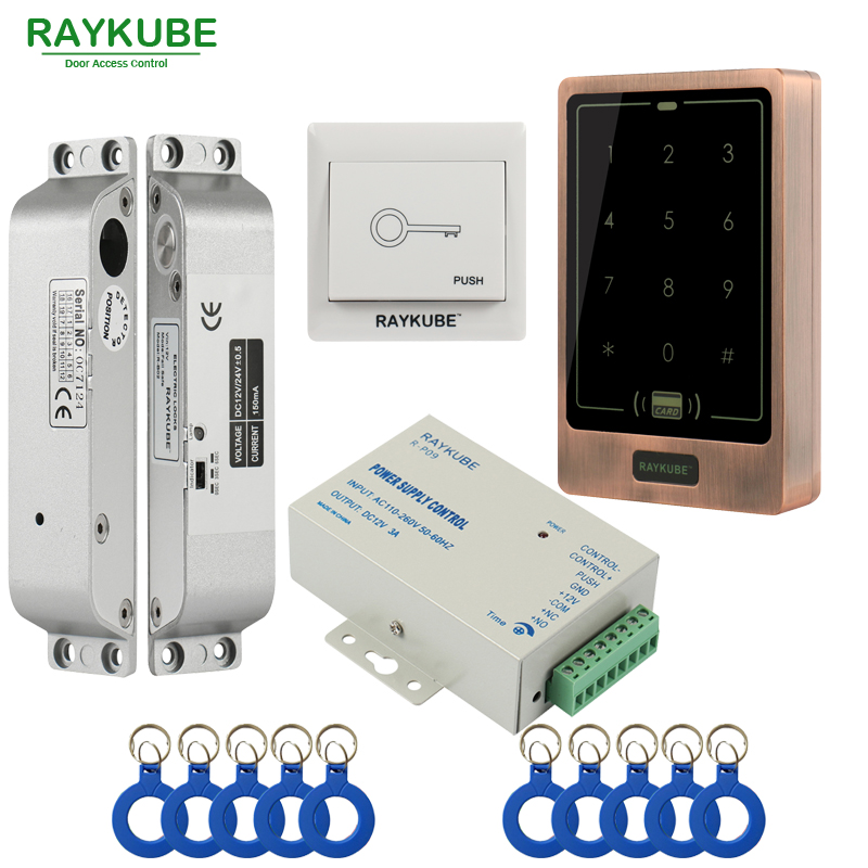 RAYKUBE FRID Access Control Kit Electric Mortise Lock + Touch Metal RFID Reader Door Security For Single Or Double Door raykube glass door access control kit electric bolt lock touch metal rfid reader access control keypad frameless glass door