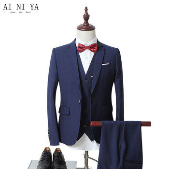 Black Wool Blended Men's Wedding Suits Groom Tuxedos Morning Suits Custom Made 3 Pieces (Jacket+Pants+ Vest )