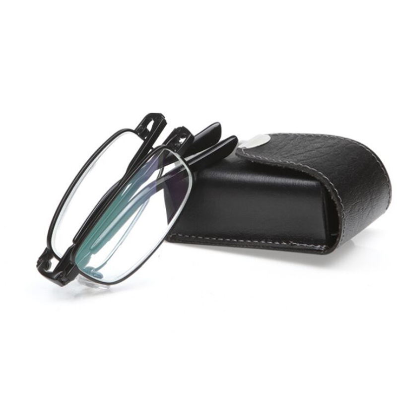 New Black Men Folding Reading Glasses With Leather Case Alloy Frame Magnifier Eyeglasses glasses magnifier Free shipping A1 in Men 39 s Reading Glasses from Apparel Accessories