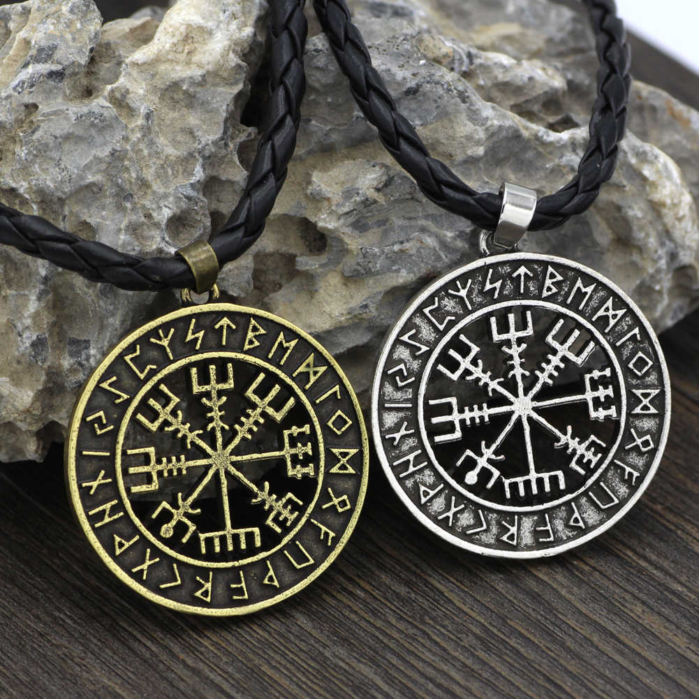 Viking islandzki hełm Vegvisir Horror w runicznym kółku wisiorek magiczne sztyfty kompas Rune Amulet naszyjnik naszyjnik
