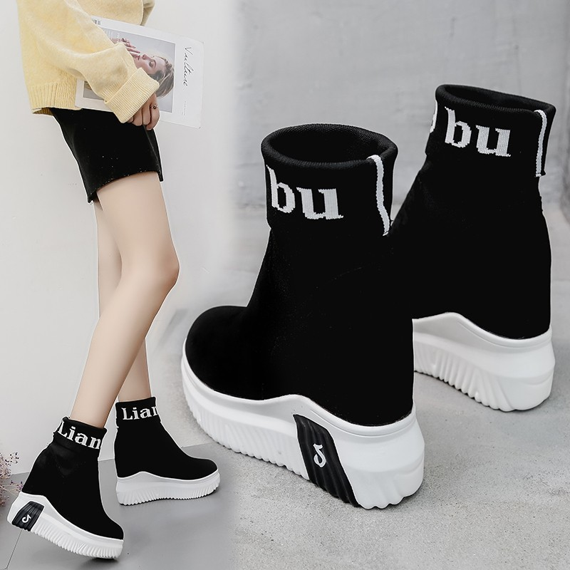 Image 5 - VIGOR FRESHNESS Woman Shoes Ankle Sock Boots Women Super High Heels Short Elastics Boots Autumn Shoes Platform Sneakers WY187-in Ankle Boots from Shoes