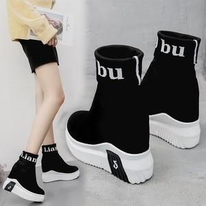 Image 5 - Vigor frescura mulher sapatos ankle sock botas mulheres super salto alto curto elásticos botas sapatos de outono tênis plataforma wy187