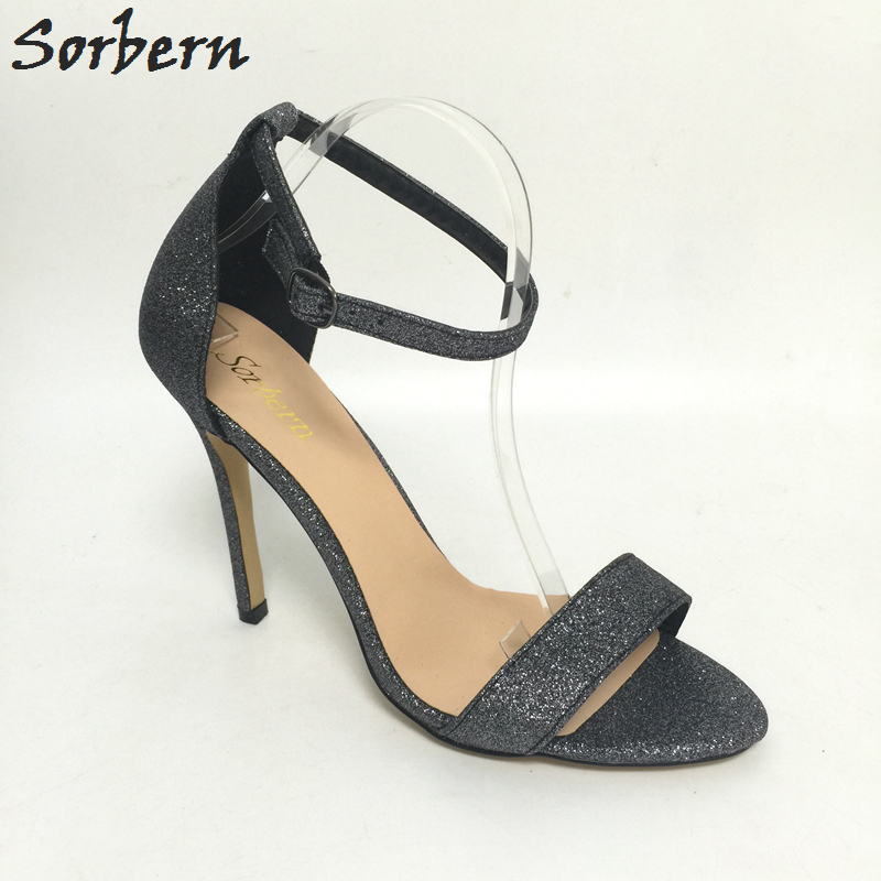 Sorbern Glitter Plus Size Women Sandal Stilettos High Heels Ankle Strap Sexy Evening Night Club Footwear Ladies Shoes EU34-46 стоимость