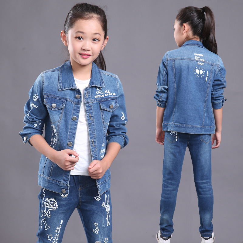 Fashion girls sports suit spring autumn Children clothing sets kids denim coat & jeans pants 2 pcs suit Kids girls clothes set