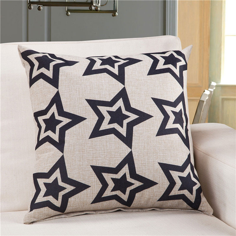 Classic Black And White Decorative Pillows Cotton Linen Throw Pillows For  Sofa Cushions Home Decor Outdoor