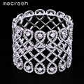 Mecresh Fashion Hollow Bracelets & Bangles for Women Silver Plated Wide Bangles Wedding Jewelry Crystal Bracelets Gift MSL208