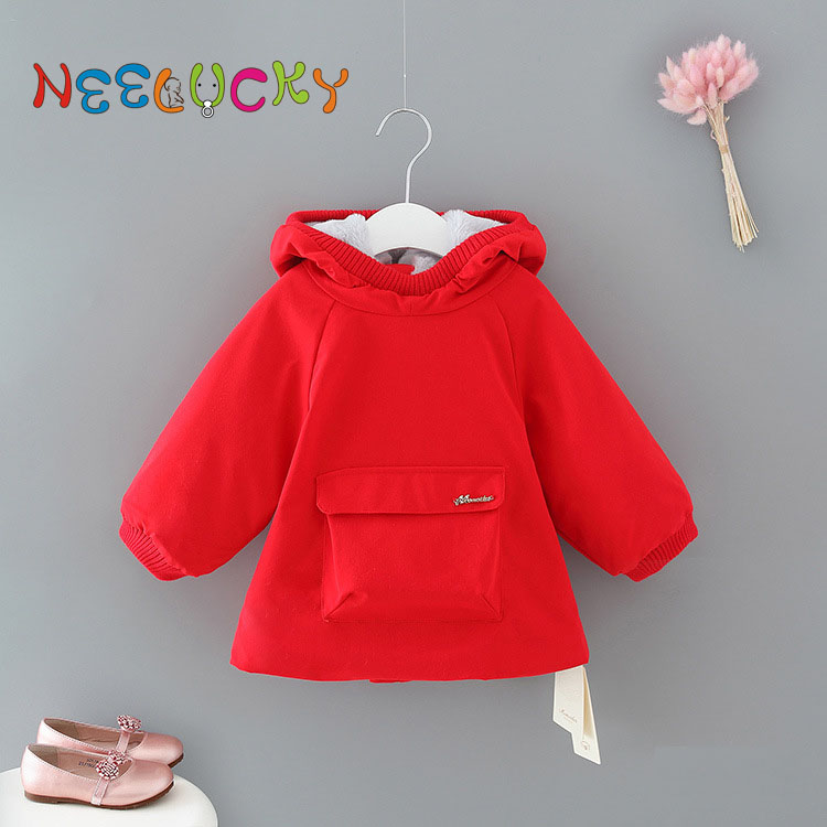Baby girl clothes autumn and winter new girls jacket simple casual children thick warm coat