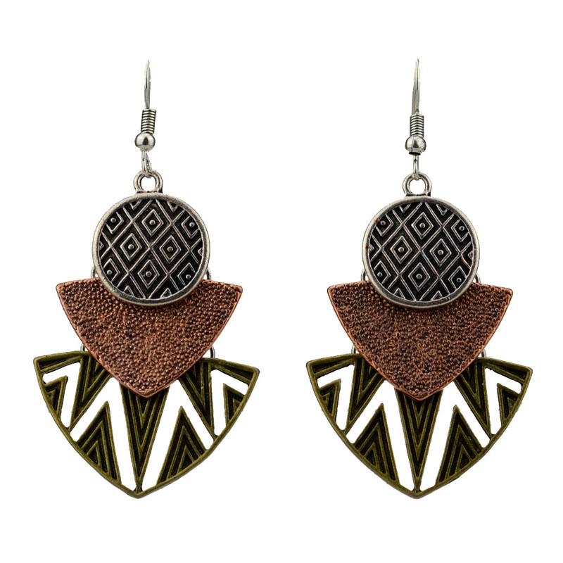 MYTHIC AGE Tribal Antique Silver Color Hollow Geometric Drop Earrings Bohe Vintage Jewelry For Women