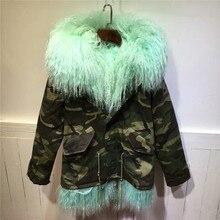 Comfortable camouflage coats warm winter women coat men parka light green lamb fur jacket