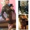 Autumn Winter Black Long Sleeve Sheath Gold Pattern High Neck Party Dresses 4