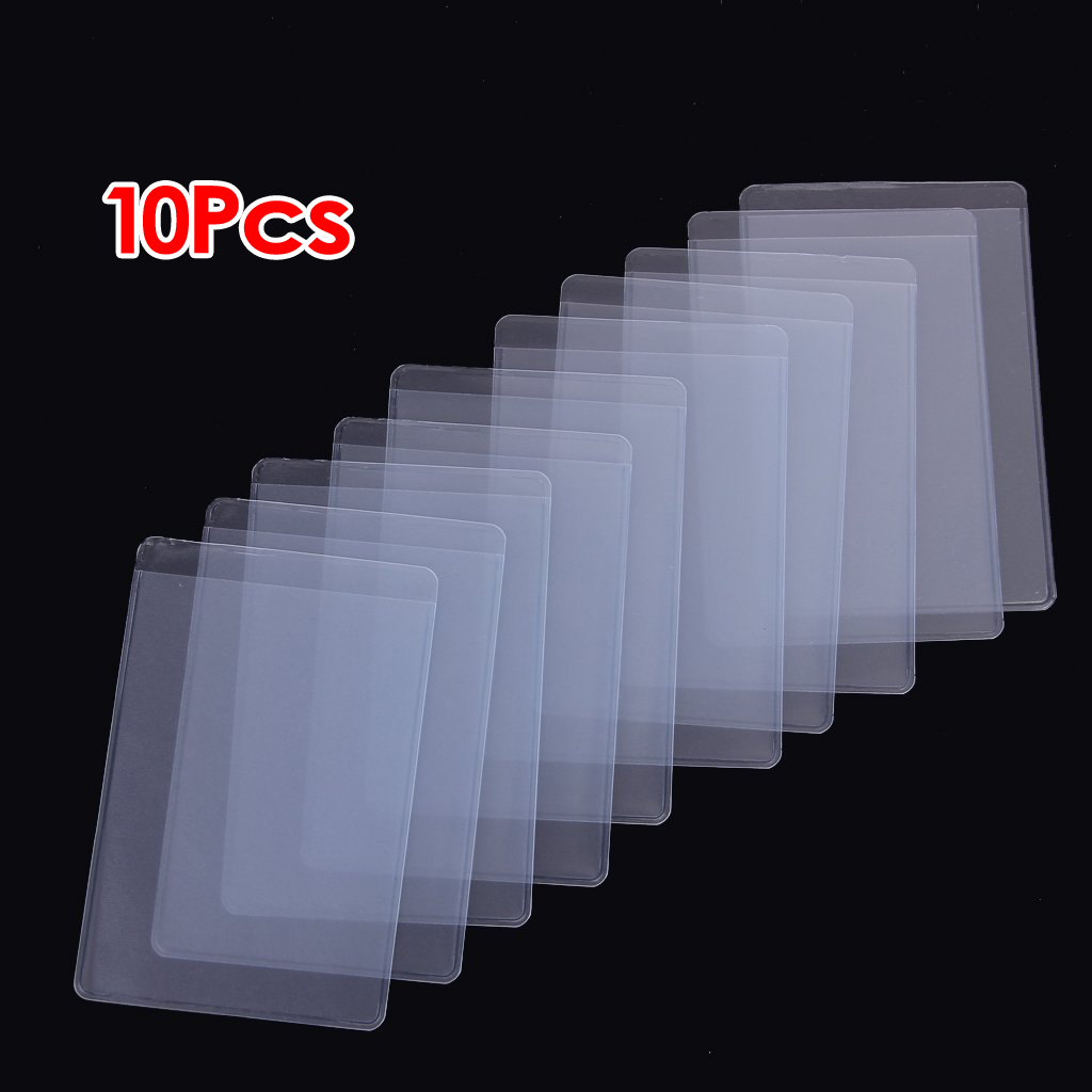 10Pcs Soft Clear Plastic Card Sleeves Protectors, For ID Cards, Band Cards, Etc.