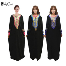 Middle East Muslim abaya dress Turkish women clothing Islamic Clothes robe musulmane Embroidery Dubai Kaftan Dresses Plus size