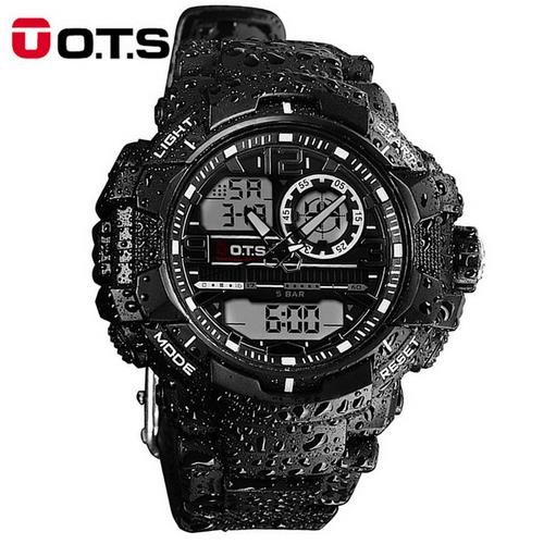 OTS Mens Sport Watches Quartz Top Brand Luxury 50m Outdoor Waterproof Multifunction Analog LED Digital Military Watch Male Clock ots top brand luxury analog digital digital drive analog waterproof alarm watch men quartz wristwatch sport military 8007