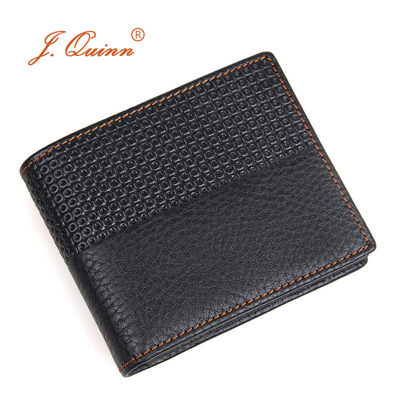 J.Quinn Mens Wallet Genuine Leather Short Plaid Mens Wallets Zipper Pocket Credit Cards Purse Small Fashion Black Bifold Case