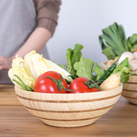 Janpan Style Bamboo Vegetable Bowl Double Color Child Salad Friendly Bowl Big Medium Size Creative New Tableware Wooden Basin