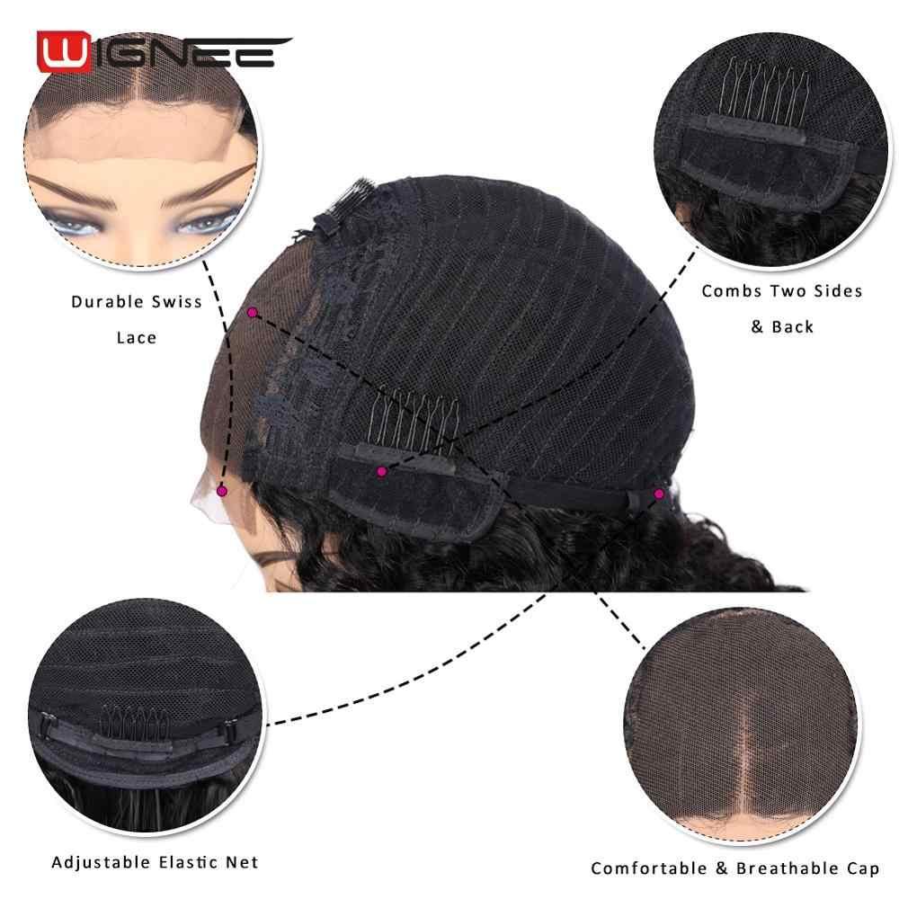 Wignee 4*4 Renda Penutupan Manusia Rambut Wig dengan Bayi Rambut untuk WANITA HITAM Glueless Brasil Remy Rambut dengan Harga Murah swiss Renda Manusia Wig