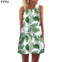 KYKU Leaf Dress Women White Sexy Abstract Korean Style Art Office Harajuku Beach Womens Clothing Elegant Ladies Wrap
