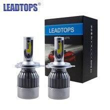 Leadtops удара H11 H3 светодиодный H7 Фары все в одном автомобиле светодиодный H4 H1 H8 9003 Фары для автомобиля лампы фара туман свет чистый 60 Вт белый 6000 К EE