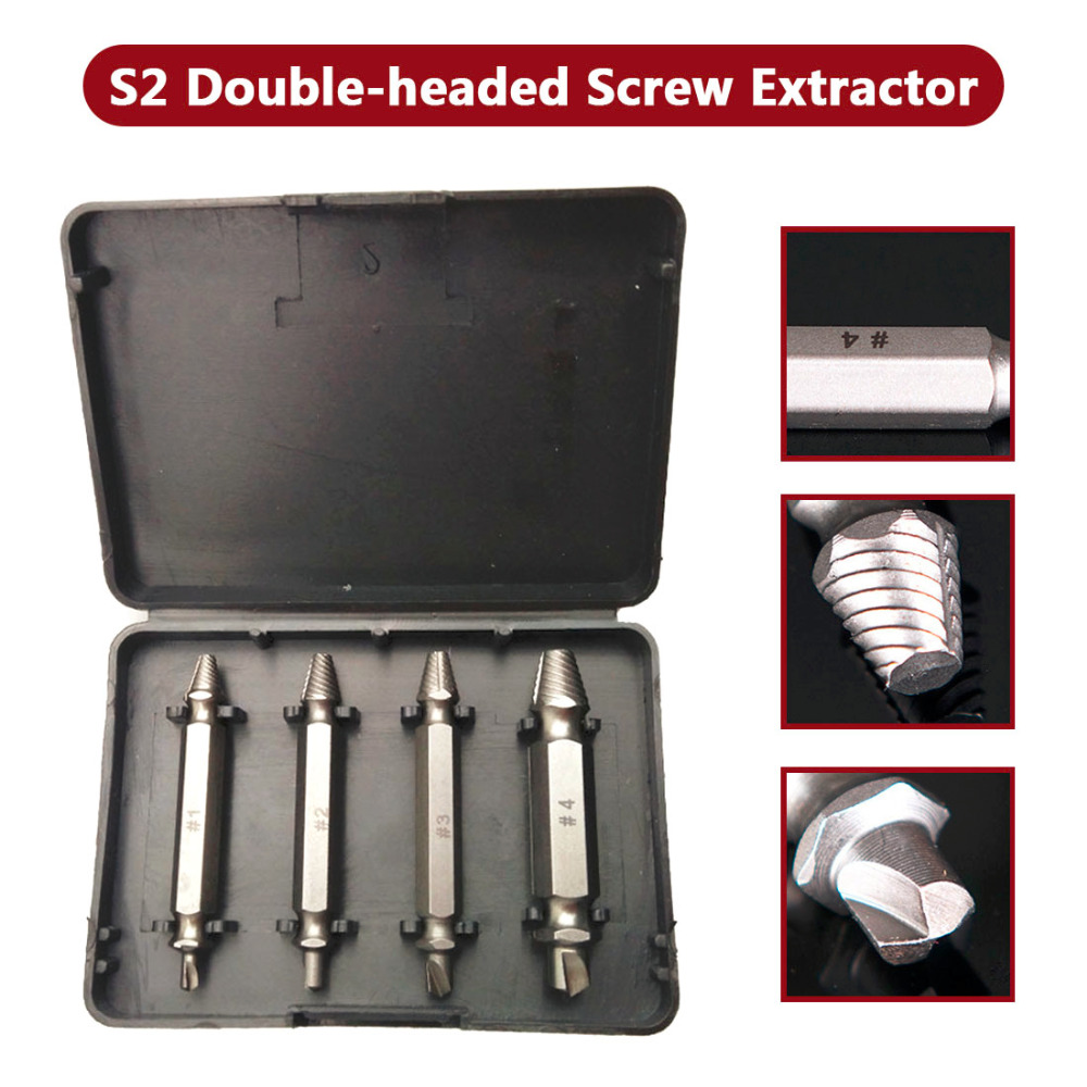 Double Side Damaged Screw Extractor Drill Bits 4pcs/set Out Remover Bolt Stud Tool