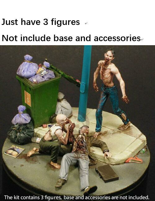 New Unassembled  1/35 Night Of The Zombies Eating Man (3 Figures)    Resin Figure Unpainted Model Kit