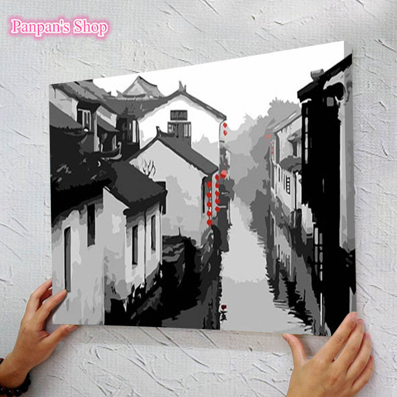 2015 New Hand painted Landscape oil painting by numbers Chinese River scenery Modern home decor wall pictures Digital Painting