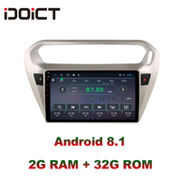 IDOICT Android 8.1 IPS 2G+32G Car DVD Player GPS Navigation Multimedia For peugeot 301 Citroen Elysee Radio 2013 2016