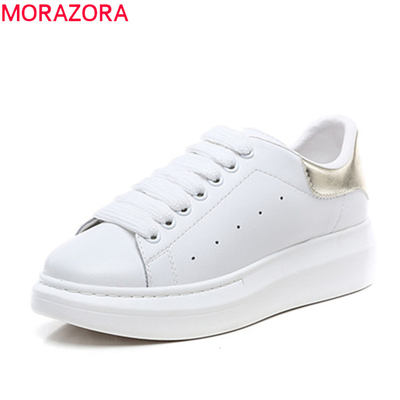 MORAZORA nouvelles chaussures en cuir véritable femmes baskets plates rondes tor chaussures à lacets plate-forme femme baskets chaussures décontractées grande taille 46