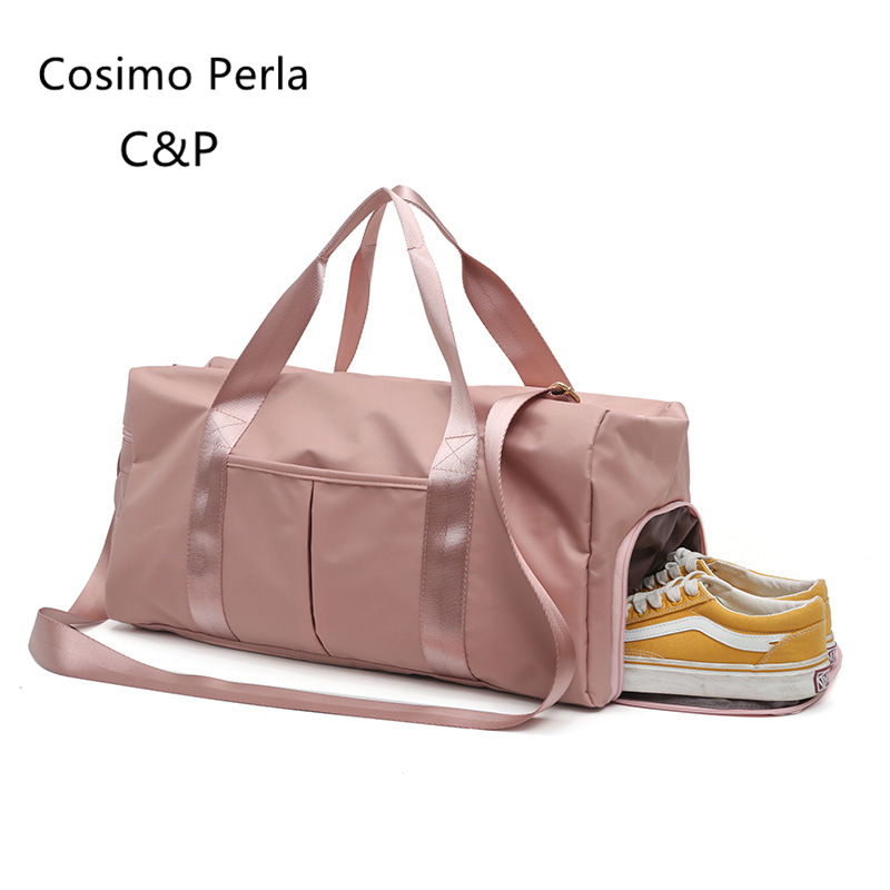 Pink Nylon Dry Wet Design Duffel Bag Female Training Yoga Fitness Bag Big Short Trip Waterproof Travel Bags Carry On Luggages