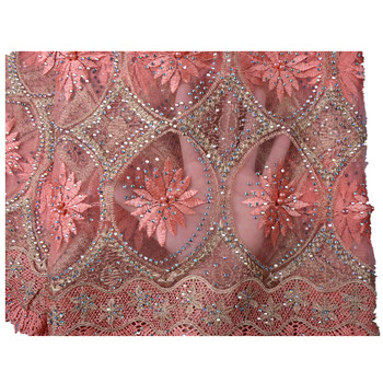 Embroidered African Tulle Lace Fabric With Beaded High Quality Net Wholesale Stones Lace Fabric For Nigerian Wedding Dress 952