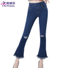 Women Jeans Slim Flare Pants Ankle Length Bell Bottom Pants Hole Tassels Jeans Pocket Denim Trousers