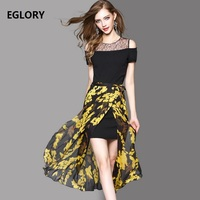 Ladies Dress New Fashion 2017 Summer High Quality Bow Tie Shoulder Mesh Patchwork Sleeveless Mid Calf