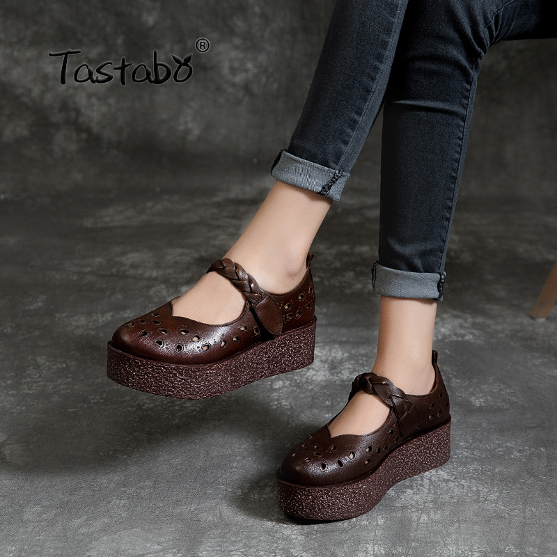 Tastabo Genuine Leather Women's shoes Thick bottom design simple casual style Z1921 Leather comfortable insole Brown Sand 35-40