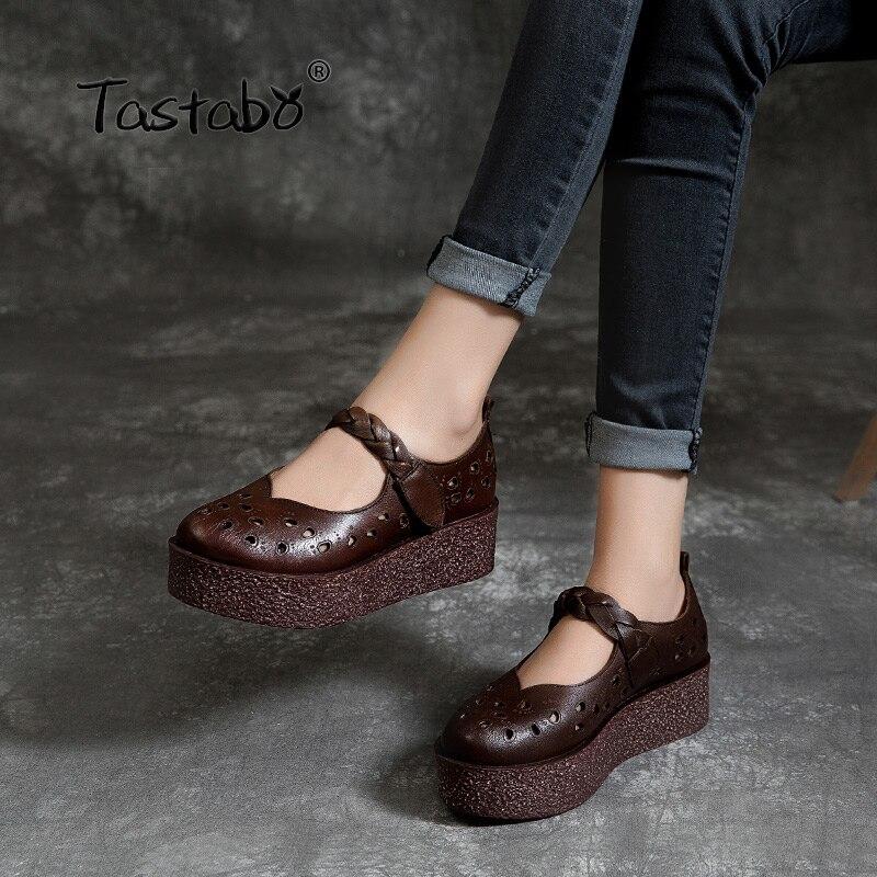Tastabo جلد طبيعي أحذية نسائية سميكة أسفل تصميم بسيط عارضة نمط Z1921 جلدية مريحة نعل البني الرمال 35 40-في أحذية نسائية من أحذية على  مجموعة 1