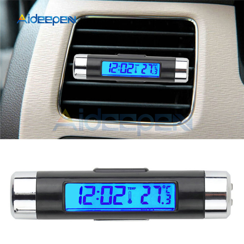 2 in 1 Car Auto Thermometer Clock Temperature LCD Display Screen Clip-on Digital Blue Back Light Automotive Accessories Portable