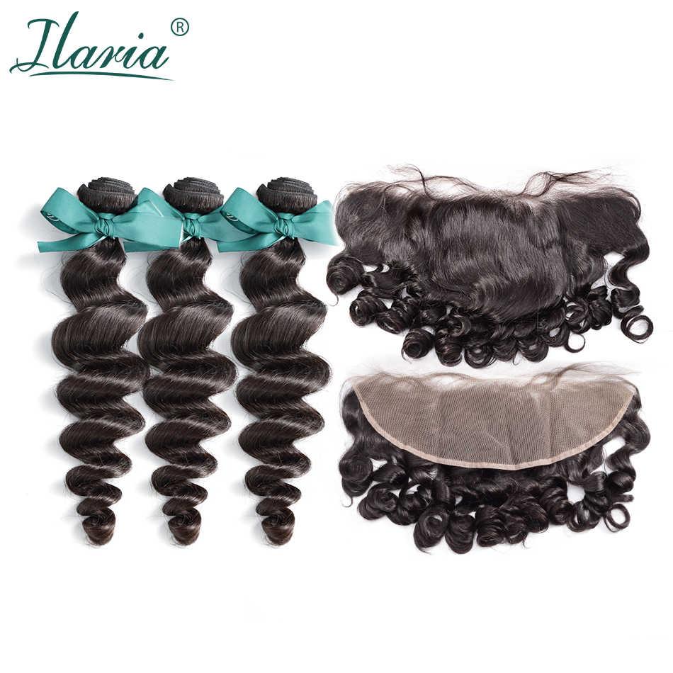 ILARIA cabello virgen brasileño 3 paquetes con cierre 100% paquetes de tejido de cabello humano con 13x4 encaje Frontal cierre de la onda suelta