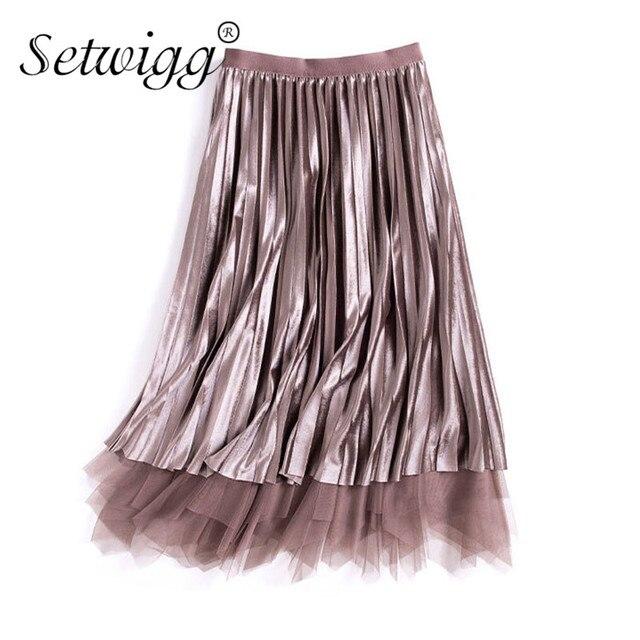 7e8c40f44 Autumn Winter Irregular Tulle Patchwork Pleated Velvet Long Skirt  Double-side Wear Mesh Pleuche High Low A-line Long Skirts