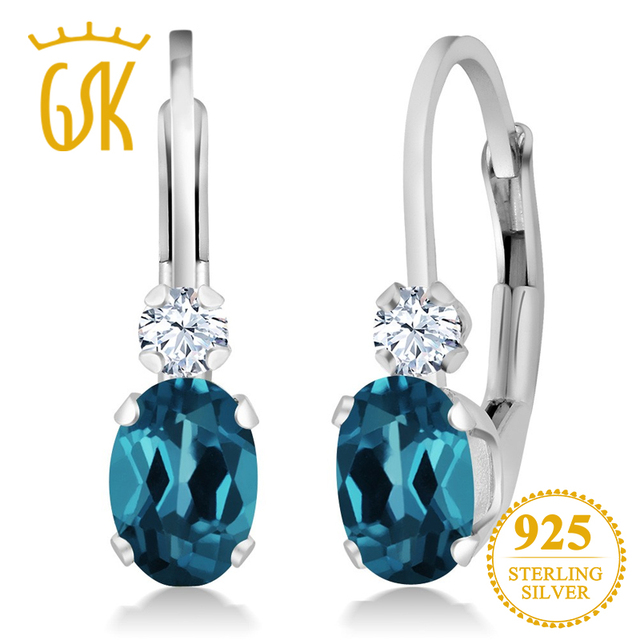 Gemstoneking 925 Sterling Silver Gemstone Leverback Earrings 1 18 Ct Oval Natural London Blue Topaz For