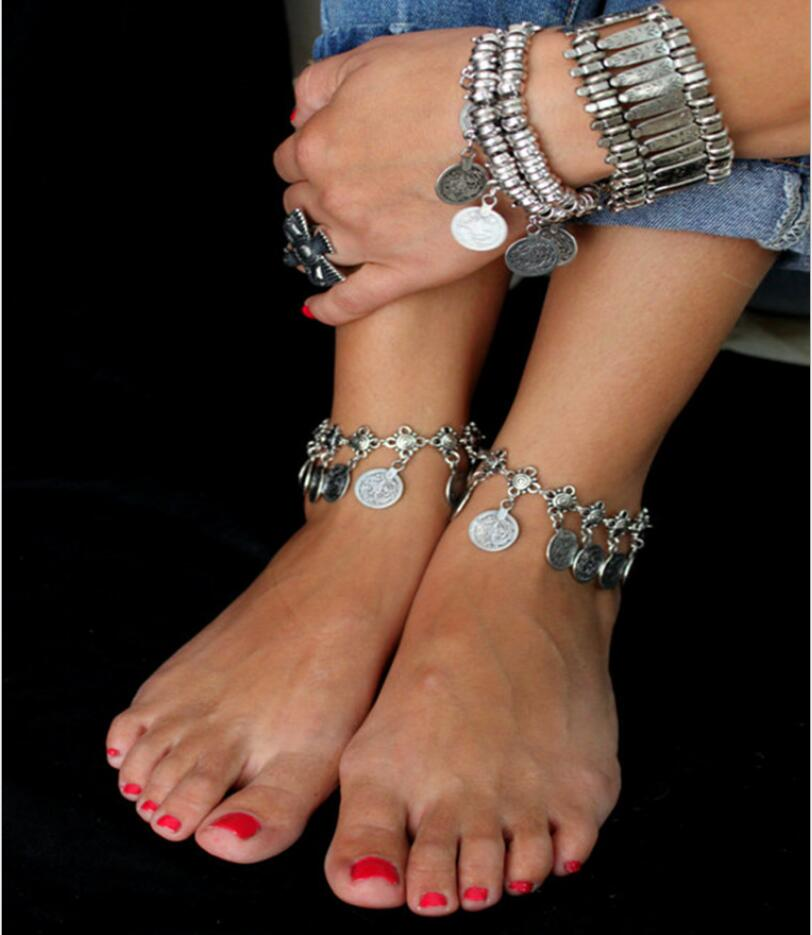 1Pair Hight Quality Hot Gypsy Antique Silver Turkish Coin Anklet Ankle Bracelet Beach Foot Jewelry Ethnic Tribal Festival