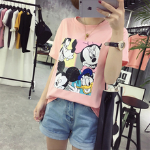 2017Hot Sale Stretch Summer New Women T Shirts Ms Mickey Mouse Printed Short Sleeve tshirt Women's Fashion Cotton O-neck T-shirt