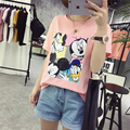 2017Hot Venda Estiramento Verão Novas Camisas Das Mulheres T Ms Mickey Mouse Impresso camiseta de Manga Curta Moda Algodão O-pescoço das Mulheres T-shirt