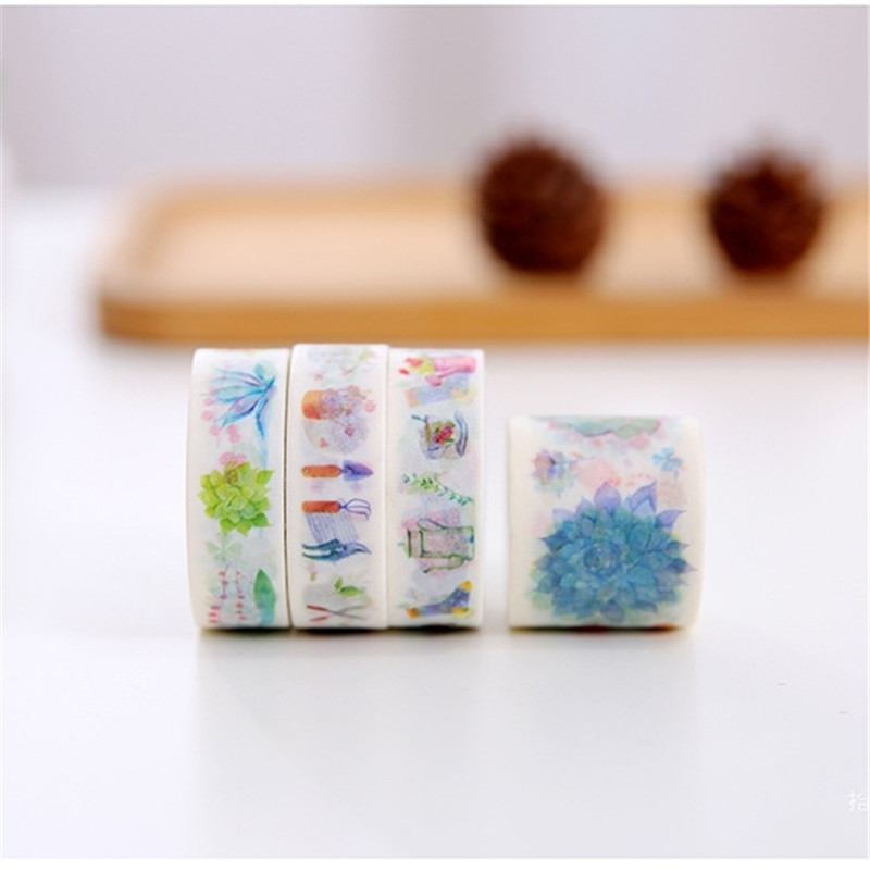 Cute Succulent Plant Washi Tape 3+1 Set 4 Rolls DIY Japanese Stationery Scrapbooking Decorative Adhesive Tape Masking Stickers