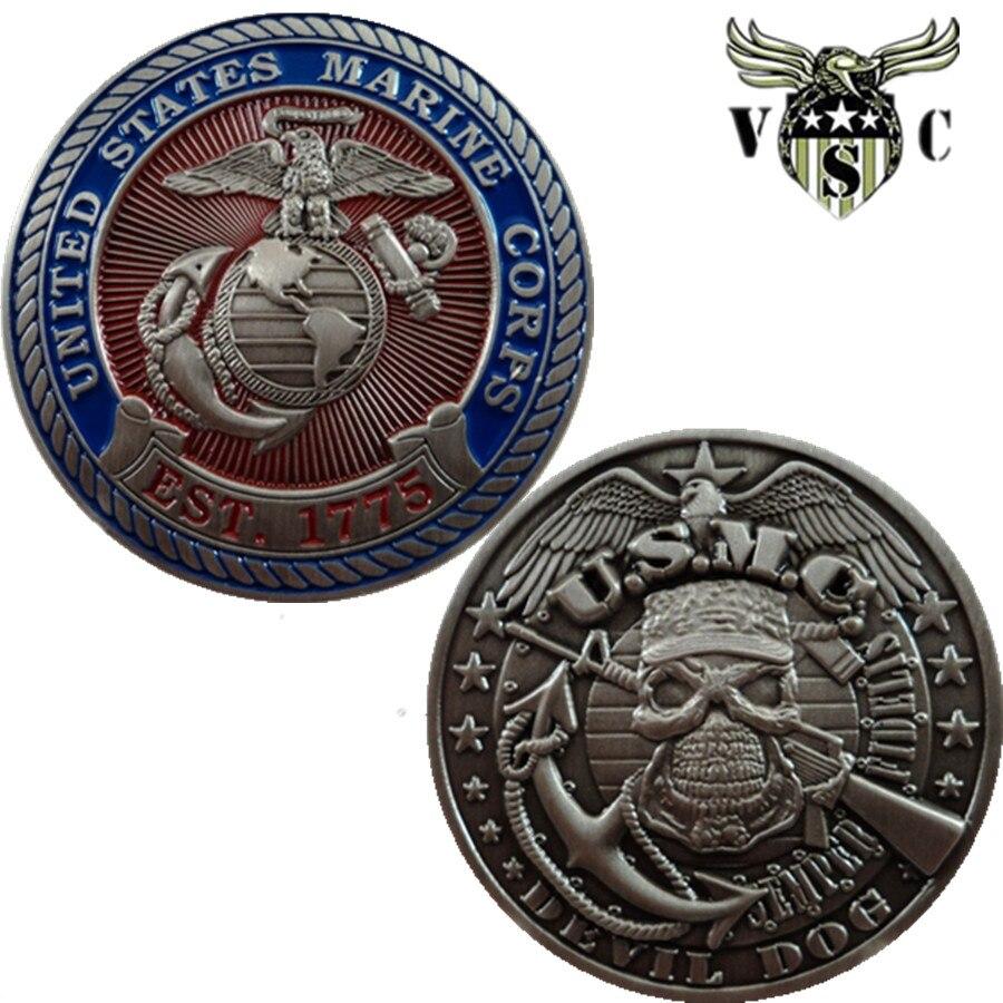 Il trasporto Libero, United States Marine Corps USMC Devil Cani Sfida Coin