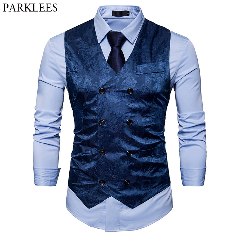 Men's Gentleman Formal Slim Fit Double Breasted Dress Suit Vests 2018 Fashion Paisley Print Men Vest Waistcoat Colete Masculino