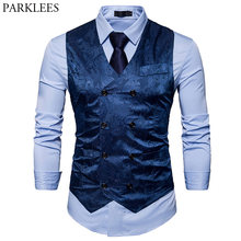 Men's Gentleman Formal Slim Fit Double Breasted Dress Suit Vests 2018 Fashion Paisley Print Men Vest Waistcoat Colete Masculino(China)
