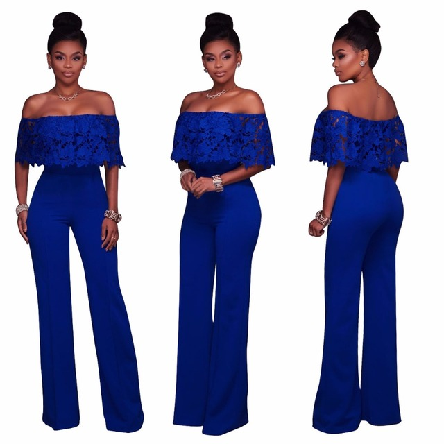 362c90c396 WLKE 5 Colors Elegant Lace Ruffle Off Shoulder Wide Leg Jumpsuit 2017 Solid  Maxi Overalls macacao Long Pant Party Rompers KP1266
