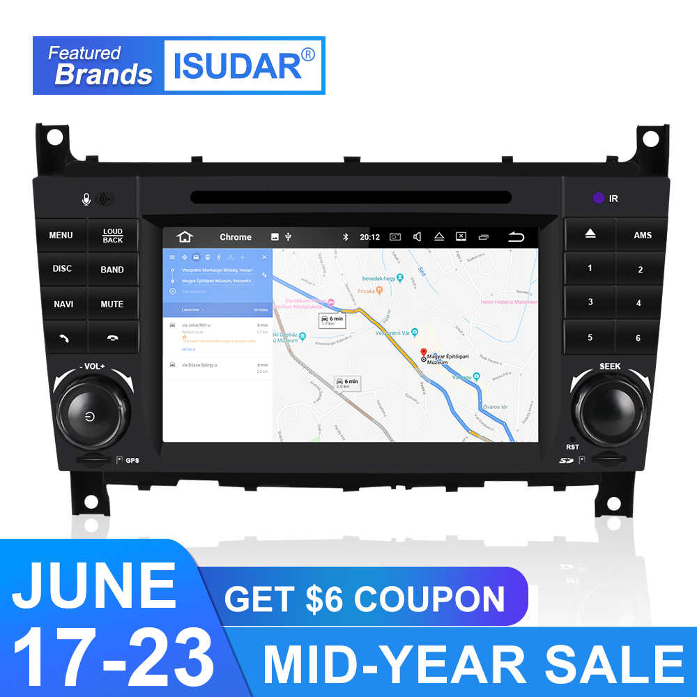 Isudar автомобильный мультимедийный плеер 2 Din Android 9 Авторадио для Mercedes/Benz/Sprinter/W203/A180/A-class gps Восьмиядерный ram 4G DSP DVR